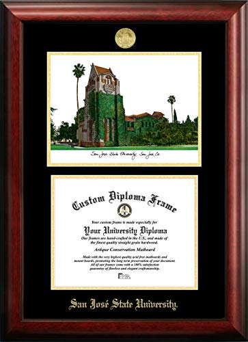Campus Images CA929LGED San Jose State University Embossed Diploma Frame with Lithograph Print, 8.5