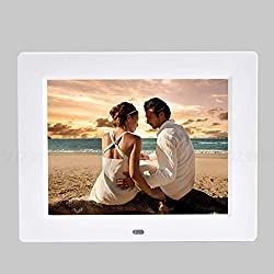 Nfudishpu Ultra Slim HD Digital Photo Frame, 8 Inch Electronic Picture Photo Music Video Player Calendar Alarm Clock Automatic On/Off