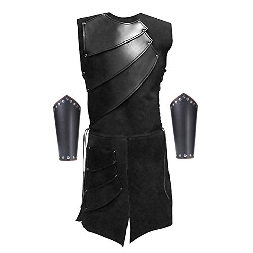 Men's Side Laces up Knight Viking Pirate Armor Long Waistcoats Vests Long Bracer Costume Set Black -