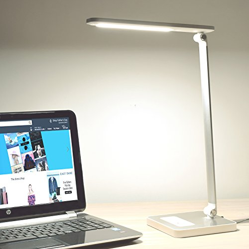 (Led Desk Lamp,table lamp modern Metal ,5 dimmable4 Color Temperatures Touch Control,USB Charging Port ,White 10W.)