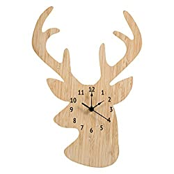 Trend Lab Bamboo Wall Clock, Tan, Stag Head