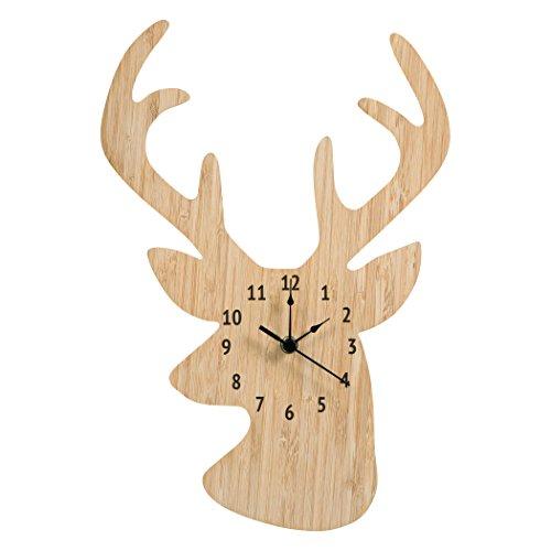 Deer Wall Clock - Trend Lab Bamboo Wall Clock, Tan, Stag Head