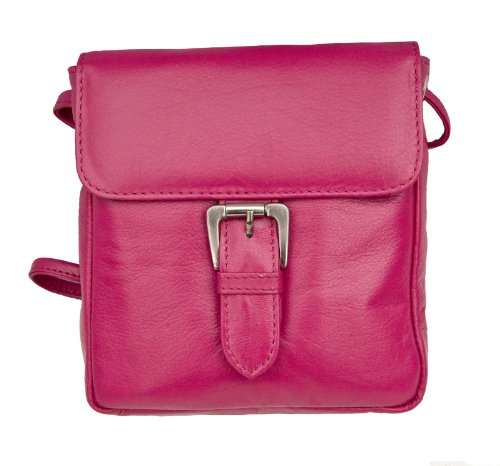 Prime Hide Victoria Ladies Small Leather Buckle Crossbody Bag Berry