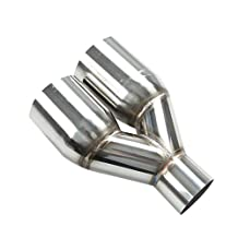 "2.5"" Inlet 3.5""Outlet Polished Stainless Steel Muffler Dual Exhaust Tip Exhaust Pipe, 1 Pack"