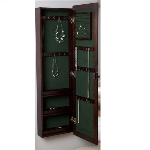 MyEasyShopping Wall Mounted Locking Jewelry Armoire Cabinet in Espresso Wood Finish Wall Locking Jewelry Armoire Mount X Mounted Wooden Belham