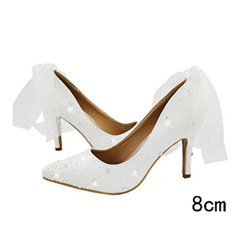 mariage parti forme imperméable noeud talon talon Femmes XIE papillon chaussures tête unique plate fine mariée 36 de perle Haut chaussures Ronde SvZTf