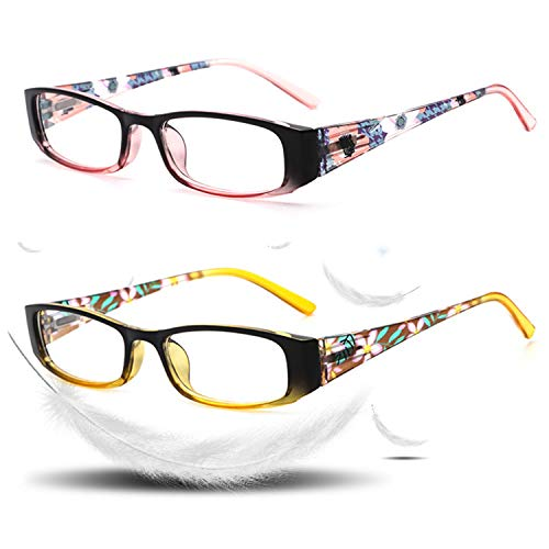 Blue Light Blocking Glasses, UV Protection Spring Hinges Computer Reading Glasses,Sleep Better for Women/Men Pink&Yellow(2Pairs) (Pink+Yellow, ()