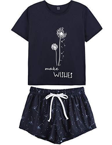 HONG HUI Pajamas for Women Short Sleeve Top with Pants Summer Sleepwear Pjs Sets Blue