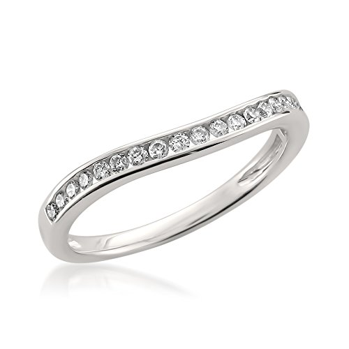 14k White Gold Round Diamond Curved Bridal Wedding Band Ring (1/4 cttw, H-I, SI1-SI2), Size 7