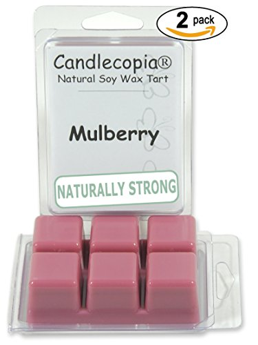 Candlecopia Mulberry Strongly Scented Hand Poured Premium Natural Soy Wax Melts, 12 Soy Wax Cubes, 6.4 Ounces in 2 x 6-Packs Berry Scented Wax