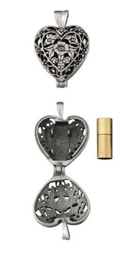 Cathedral Art Pet Memorial Urn Locket-heart Shaped-silver Tone Filigree … by Cathedral Art (Image #3)