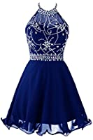 Topdress Women's Short Beaded Prom Dress Halter Homecoming Dress Backless