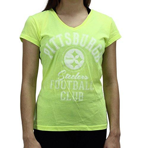 Pittsburgh Steelers Leather (Alyssa Milano Women's Pittsburgh Steelers Football Club Neon T Shirt)