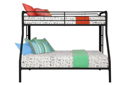 DHP Twin-Over-Full Bunk Bed with Metal Frame and Ladder, Space-Saving Design, Black by DHP (Image #2)