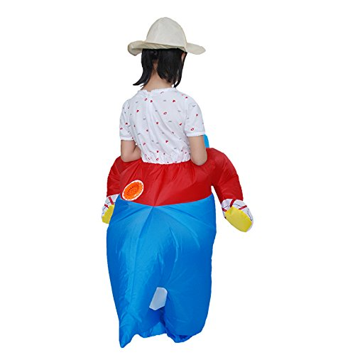 Wuudi Inflatable Fancy Dinosaur Costume Adult Kids Size Halloween Dino Rider