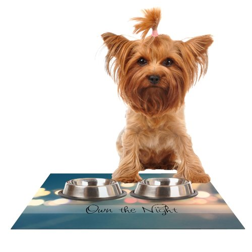 Kess InHouse Beth Engel Own The Night  Feeding Mat for Pet Bowl, 18 by 13