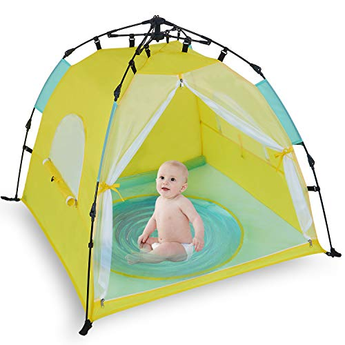 Bend River Automatic Instant Baby Tent with Pool, UPF 50 Beach Sun Shelter, Portable Mosquito Net Travel Bed for Infant