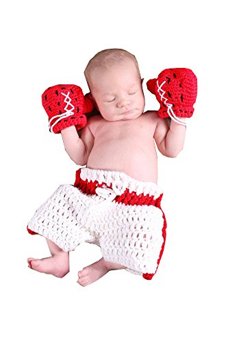 CX-Queen Baby Photography Prop Boxing Costume Crochet Knitted glove Pants (Fancy Dress Boxing Gloves)