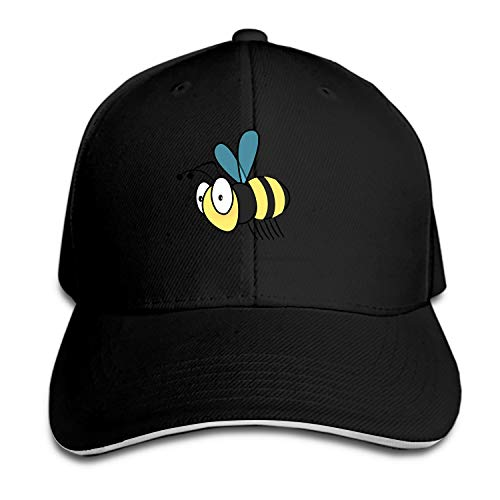 Honeybee Bee Fly Wing Stinger Men's Structured Twill Cap Adjustable Peaked Sandwich Hat ()