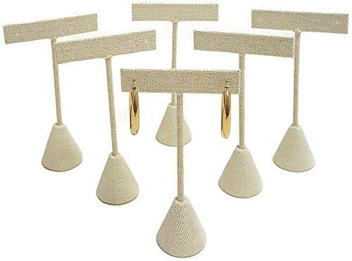 "T- Shape Style Earring Display Linen 4.75""H - Pack of 6"