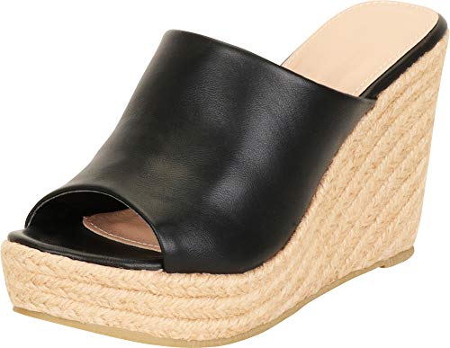 Cambridge Select Women's Retro 70s Open Toe Slip-On Espadrille Chunky Platform Wedge Slide Mule Sandal (10 B(M) US, Black PU)