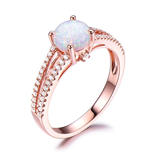Opal Engagement Ring CZ Diamond Split Shank Wedding Band 925 Sterling Silver Rose Gold Plated Round Cut by Milejewel Opal Engagement Ring