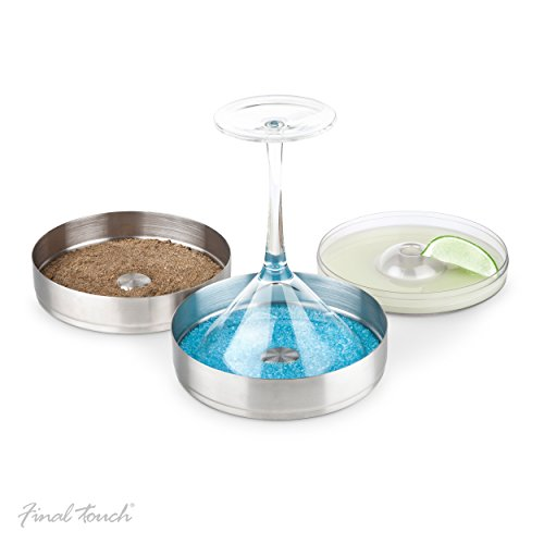 Final Touch Stainless Steel 2-Tier Cocktail Rimmer with BPA-Free Lid 2 Tier Glass Rimmer