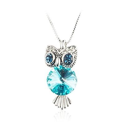 NAWAY Retro Swarovski Elements Crystal Cute Elegant Owl Fox Bear Animal Short Y Chain Pendant Statement Necklace for Women Teen Girls Gift