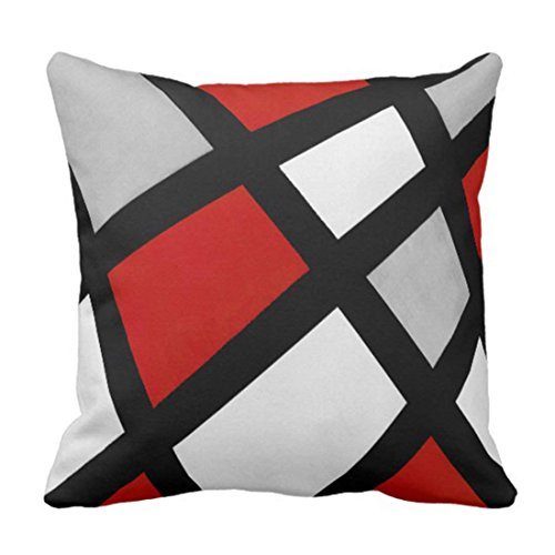 Calla Bordered Lilies (NOWCustom Throw Pillow Covers Stripes Acrylic Red Gray Black White Modern Home Pillowcase Square Size 20 x 20 Inches Decor Sofa Couch Roomy Cushion Case)