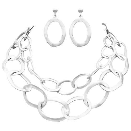 - Rosemarie Collections Women's Two Strand Textured Chunky Link Matte Silver Tone Choker Necklace and Earring Set