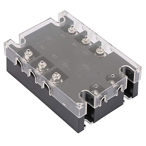 Solid State Relay, Keenso TSR-25AA-H Three-Phase Solid State Relay SSR AC to AC 25A 90-250V AC to 24-480V AC SSR Machinery Control Solid Module State Relay