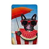 Vantaso Soft Blankets Throw French Bulldog Eat Watermelon Microfiber Polyester Blankets for Bedroom Sofa Couch Living Room for Kids Children Girls Boys 60 x 90 inch