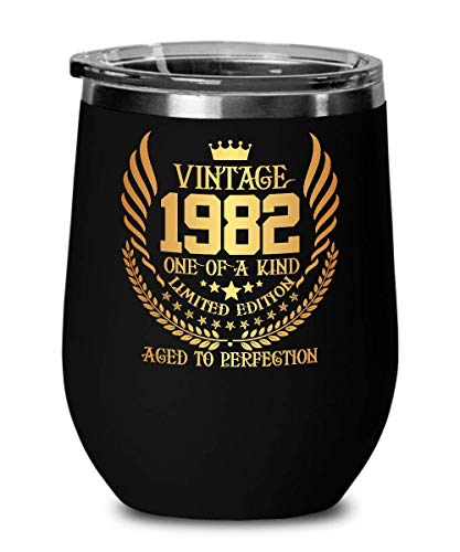 1982 37th Birthday Gifts for Women and Men Wine Glass Tumber - Aged To Perfection 12 oz Stainless Steel Wine Glass with Lid - 37 Years Old Vintage Monogram Insulated Black Cup Anniversary Gift Ideas (Tumber Glass)