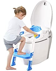 Potty Training Seat for Kids Baby Toilet Seat Adjustable Toddler Toilet Chair with Sturdy Non-Slip Step Stool Ladder Comfortable Handels Easy to Assemble Boys Girls …