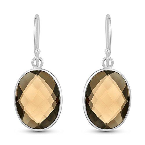 - Smoky Quartz Earrings - .925 Sterling Silver Jewelry Quartz Dangle Earrings