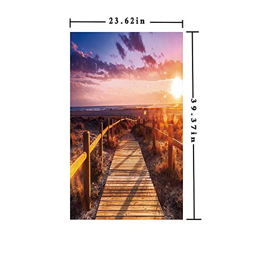 Homenon No Glue Static Cling Window Film Decorate by Sunset with Clouds in Cabo de Gata Nijar Natural Park Bridge Way with Fences,W15.7xL63in,for Living Room Bathroom Kitchen Front Door with Multi