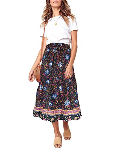 MEROKEETY Women's Boho Floral Print Elastic High Waist Pleated A Line Midi Skirt with Pockets Navy