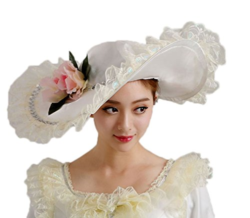 Era Satin Hat - Soojun Women's 1801s Era Misses Wide Brim Victorian Hats for Party, White 1, One Size
