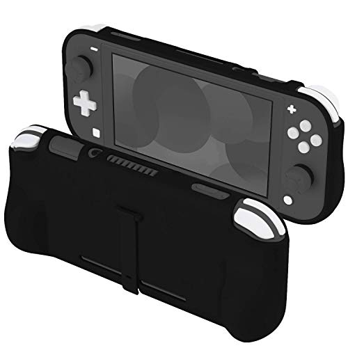 Orzly Grip Case for Nintendo Switch Lite – Case with Comfort Padded Hand Grips, Kickstand, Pack of Thumb Grips - Black