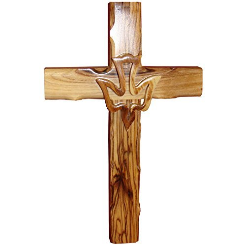 Zuluf Wall Hanging Hand Carved Olive Wood Dove Christian Cross Jerusalem 20cm - CRS019