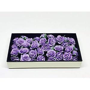 "1"" Purple Paper Flowers Paper Rose Artificial Flowers Fake Flowers Artificial Roses Paper Craft Flowers Paper Rose Flower Mulberry Paper Flowers, 20 Pieces 5"