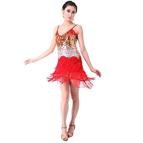 SymbolLife Fransenkleid mit Pailletten Damen Spaghetti Gradient Tanz ...