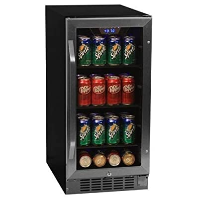 EdgeStar CBR901SG 15 Inch Wide 80 Can Built-In Beverage Cooler with Blue LED Lig