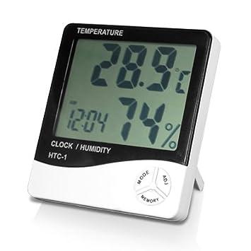Digiflex Reloj con alarma LCD digital medidor de temperatura y humedad: Amazon.es: Jardín