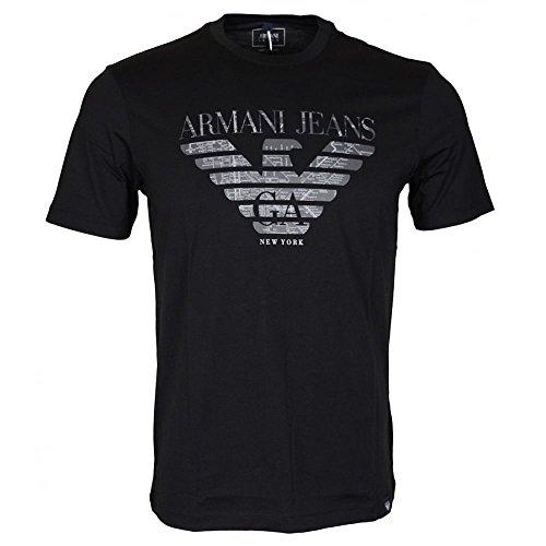 Eagle Denim Shirt - ARMANI JEANS Men's Plus Size Pima Cotton Eagle Logo T-Shirt, Black, Large