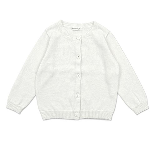 RJXDLT Little Girls Cardigan Knit Sweaters Long Sleeve Button Cotton Sweater 6Y Ivory White (Cardigan Whites Cotton)