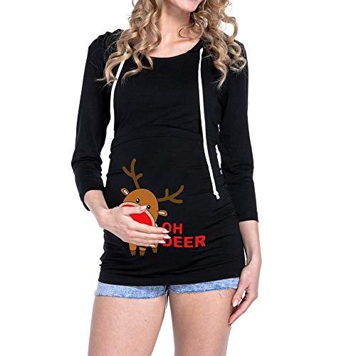 De Enfermería Elegante Mujeres Embarazadas Maternidad Manga Capucha Vintage Navidad Ropa Schwarz Impresión Con Camiseta Amamantamiento Tops Larga YEZdxwrZ