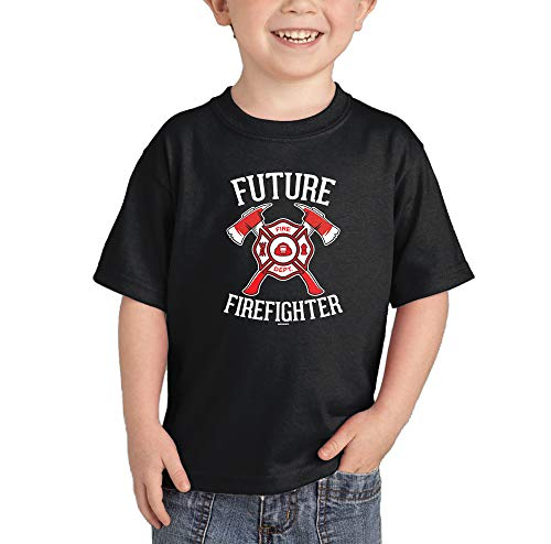 HAASE UNLIMITED Future Firefighter - Firetruck Brave Infant/Toddler Cotton Jersey T-Shirt (Black, 4T)