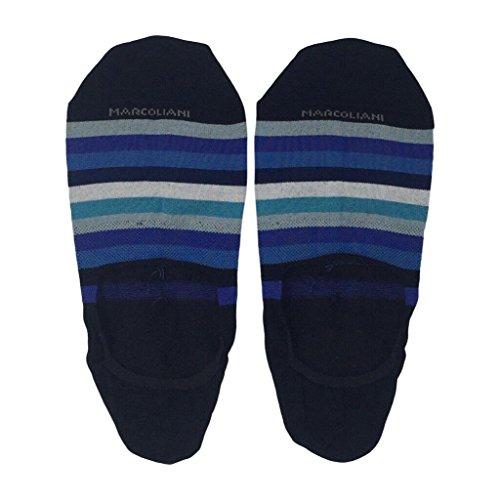 Marcoliani Men's Rainbow Stripe Invisible Touch No Show Liner Socks (Blue Mix)