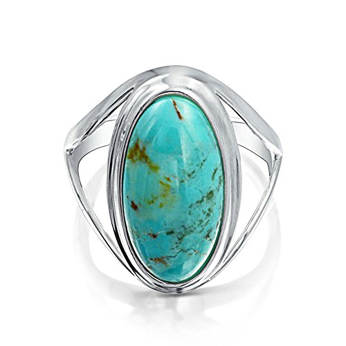 (Native American Style Large Oval Boho Statement Stabilized Turquoise Ring For Women Split Band 925 Sterling Silver )